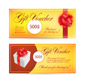 Voucher templates with red bow ribbons. design usable for gift coupon. Voucher, invitation, certificate, diploma, ticket etc. Vector Royalty Free Stock Images