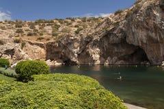 Vouliagmeni, lago termal water mineral de Radonic cerca de Athen, foto de Grecia foto de archivo libre de regalías