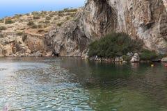Vouliagmeni, Thermisch Radonic-Mineraalwatermeer dichtbij Athen, de foto van Griekenland Royalty-vrije Stock Fotografie