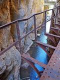 The Vouraikos Gorge along the Diakopto Kalavryta railway in Greece. Scenic gorge where the cog train passes through on the rail way between Kalavryta and royalty free stock photos