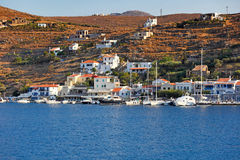 Vourkari in Kea, Greece. Vourkari is a seaside, traditional village with a picturesque harbor in Kea, Greece Stock Photo