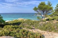 Vourvourou - Orange beach, Sithonia, Greece Stock Photos
