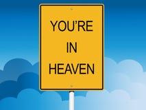 Vous êtes dans le panneau routier de ciel dans les nuages Image stock