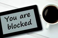 Vous êtes des mots bloqués sur le PC de comprimé Images libres de droits