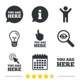 Vous êtes ici des icônes Signe de bulle de la parole d'infos Images libres de droits