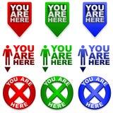 Vous êtes ici des repères de carte Image libre de droits