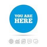 Vous êtes ici icône de signe Symbole des textes d'infos Photos stock