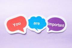 Vous êtes important Photo stock