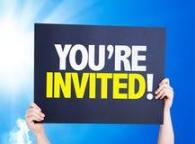 Vous êtes invité ! carte avec un beau jour Image libre de droits