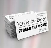Vous êtes les cartes de visite professionnelle de visite de Word de diffusion d'expert Image libre de droits