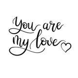 Vous êtes ma carte de lettrage manuscrite d'amour Inscription moderne de calligraphie Carte de voeux de Valentines Illustration d Photo stock