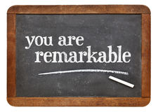 Vous êtes remarquable sur le tableau noir image libre de droits