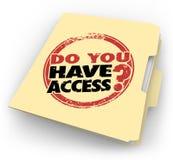 Vous avez le dégagement confidentiel de dossier embouti par mots d'Access Photo libre de droits