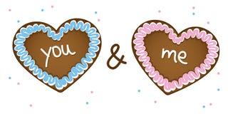 Vous et moi coeurs de pain d'épice bleus et roses illustration de vecteur