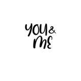 Vous et moi manuscrit Calligraphie pour des cartes de voeux, invitations de mariage Images libres de droits