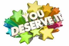 Vous le méritez gagnez des étoiles de récompenses de reconnaissance illustration libre de droits
