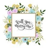 Vous m'épouserez carte de voeux de lettrage de main Trame florale Images stock