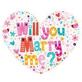 Vous m'épouserez typographie en forme de coeur marquant avec des lettres le texte décoratif pour concevoir Photos stock