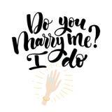 Vous m'épousez lettrage Illustration tirée par la main de vecteur, carte de voeux, conception, logo pour le jour de Valentine s Images libres de droits