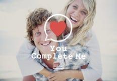 Vous m'accomplissez accomplissez Valentine Romance Love Heart Dating concentré Photo stock