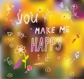 Vous me rendez heureux - carte mignonne Images stock