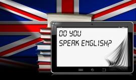 Vous parlez anglais - Tablette et livres Images libres de droits