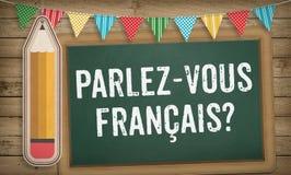 Vous parlez la question française sur le panneau de craie Photos stock