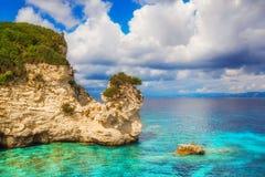 Voutoumi strand, Antipaxos ö, Grekland Fotografering för Bildbyråer