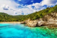 Voutoumi strand, Antipaxos, Grekland Arkivbilder
