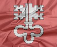 Vouw van Nidwalden-vlagachtergrond, het kanton van de Federatie van Zwitserland Witte sleutel op rood stock illustratie