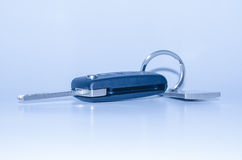 Vouwend autosleutel met gestemd afstandsbedieningblauw Stock Afbeelding