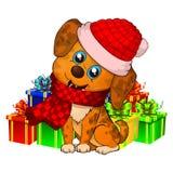 Vovve 2018 för NYTT år lycklig tecknad filmhund jul dog med den röda halsduken Royaltyfri Fotografi