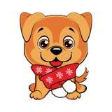 Vovve med halsduken lycklig tecknad filmhund royaltyfri illustrationer