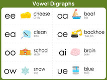 Vowel Digraphs Worksheet for kids Stock Photography