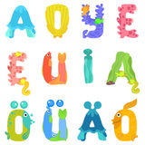 Vowels of the Latin alphabet like sea inhabitants royalty free illustration