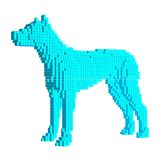 Voxel Blue Dog. 3D Pixel  illustration. Isolated on white background. Cube design Stock Image