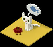 Voxel cat wants fish. White cat dreaming of fish before a red bowl filled with cat food. Made in retro voxel style Royalty Free Stock Photography
