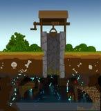 voxel 3d rustikaler Brunnen Lizenzfreie Stockbilder