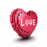 Voxel or pixel heart symbol Royalty Free Stock Image