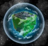 Voxel planet with grey city and green forest. 3d image of a habitable alien planet made in retro voxel style. Shaped like a cube, it is surrounded with Royalty Free Stock Images