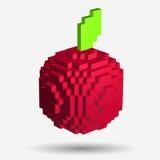 Voxel röda Apple i PIXELstil på vit bakgrund Fotografering för Bildbyråer