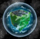 Voxelplaneet met grijze stad en groen bos stock illustratie