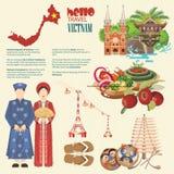 Voyage à l'affiche infographic du Vietnam illustration libre de droits