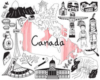 Voyage à l'icône de dessin de griffonnage de Canada Photo stock