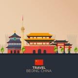Voyage à la porcelaine Vacances Voyage par la route tourisme Voyage Ville de déplacement de Pékin d'illustration Conception plate Image stock