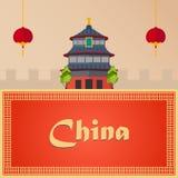Voyage à la porcelaine Vacances Voyage par la route tourisme Voyage Ville de déplacement de Pékin d'illustration Conception plate Photo stock
