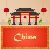 Voyage à la porcelaine Vacances Voyage par la route tourisme Voyage Ville de déplacement de Pékin d'illustration Conception plate Images libres de droits