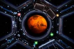 Voyage à Mars La planète Mars 3d rendent vues les fenêtres de vaisseau spatial illustration libre de droits