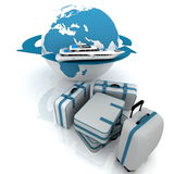 Voyage. Luggage for a round-world voyage vector illustration