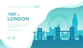 Voyage au calibre de page d'atterrissage de vecteur de Londres illustration libre de droits